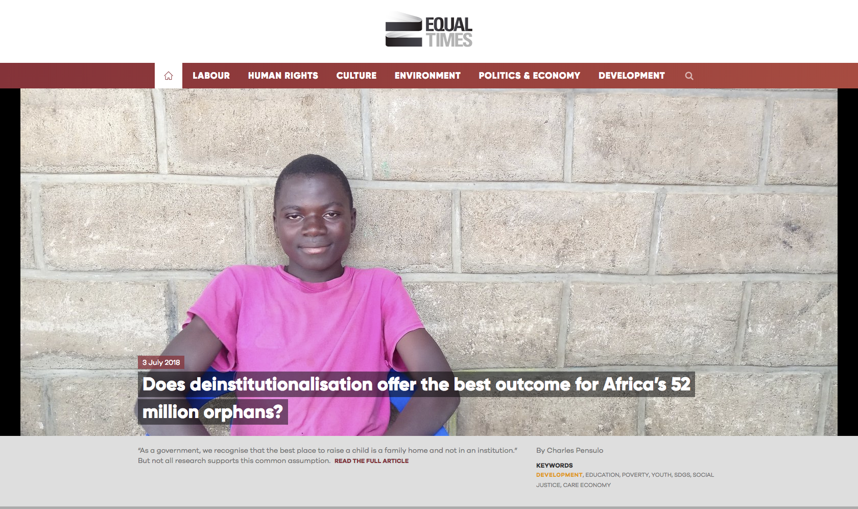 Article on Deinstitutionalization in Malawi from The Equal Times